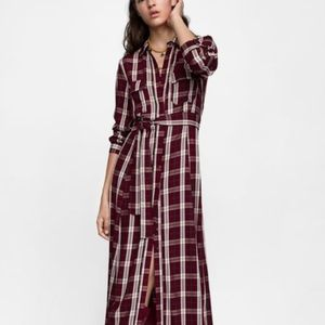 Zara Midi Check Dress L Slv Belt Button Front  L
